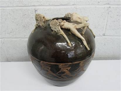 Ceramic Vase w/ Exotic Women. Signed Stephens '78.