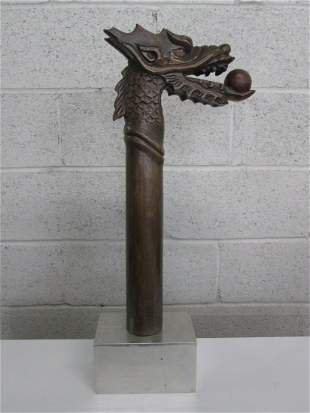 Mid Century Modern Hand Carved Wood Dragon on Chrom