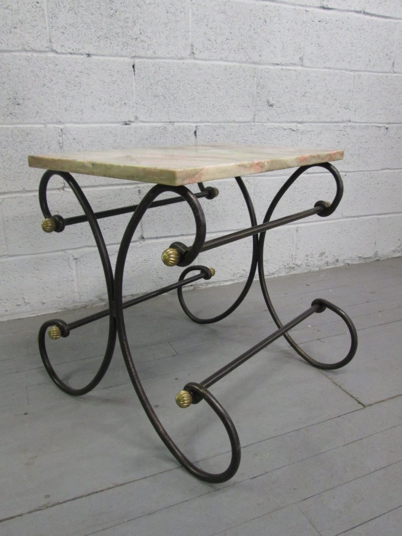 64: Antique Style Wrought Iron Bakers Table.  Marble to