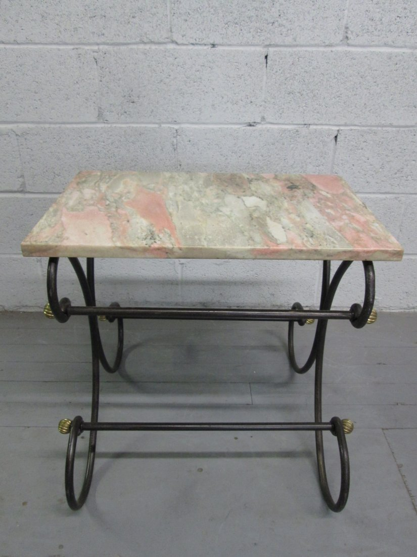 64: Antique Style Wrought Iron Bakers Table.  Marble to - 2