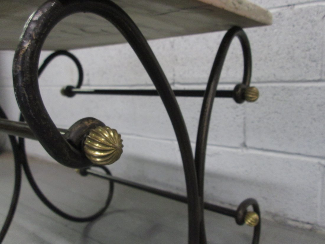 64: Antique Style Wrought Iron Bakers Table.  Marble to - 3