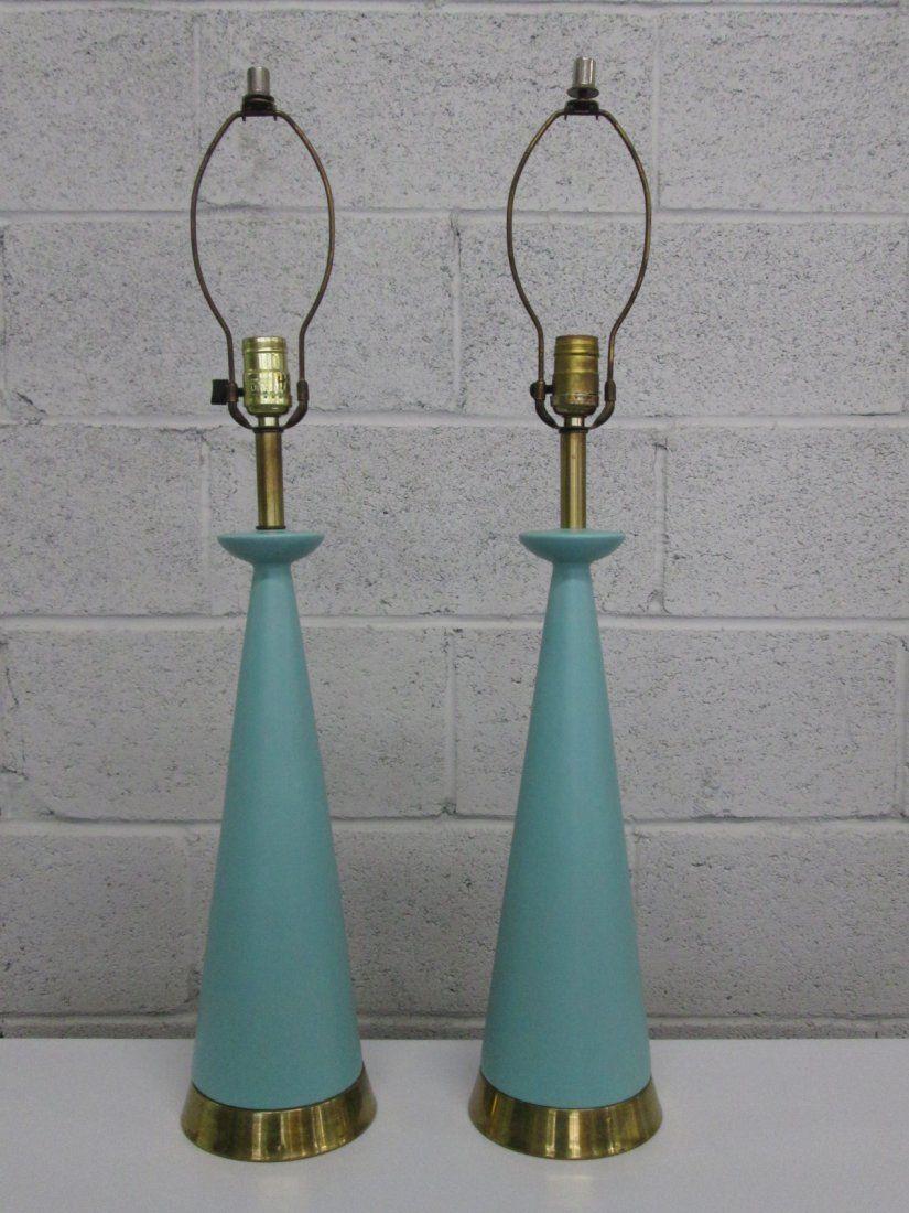 Pair Mid Century Modern Ceramic Lamps. Brass base.