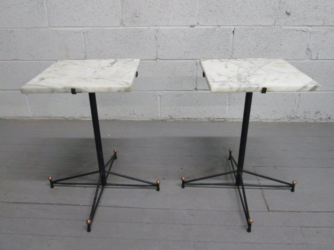 Mid Century Modern Pair Marble Top Snack Tables.