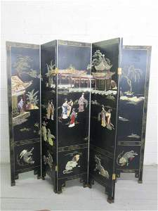 383: Asian Lacquered Jade & Soapstone Inlay Screen