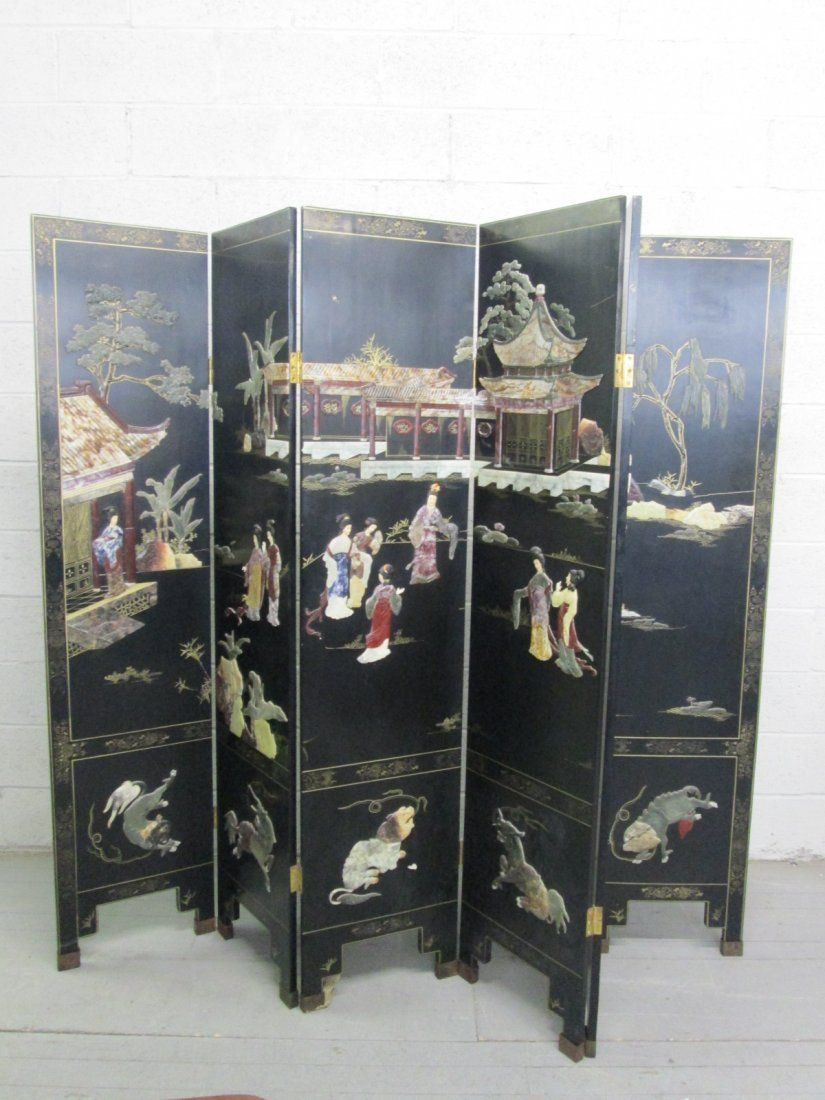 Asian Lacquered Jade & Soapstone Inlay Screen