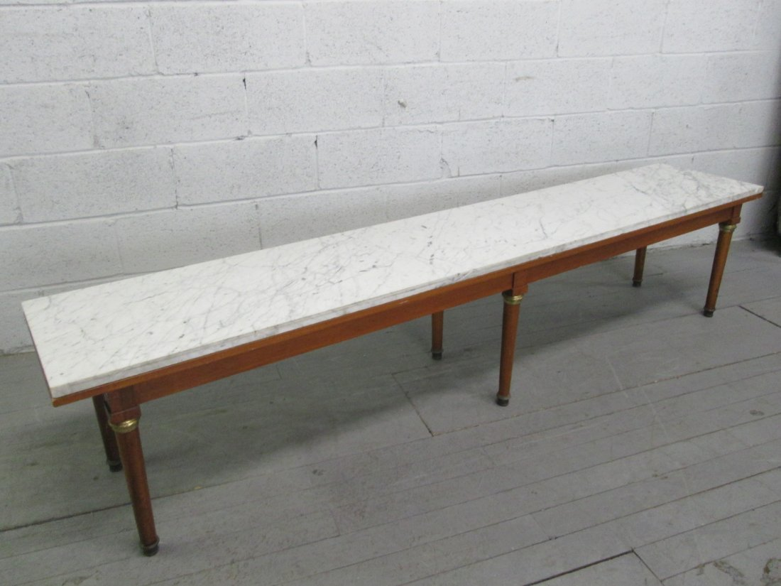 473: Mid Century Modern Long Marble Top Coffee Table