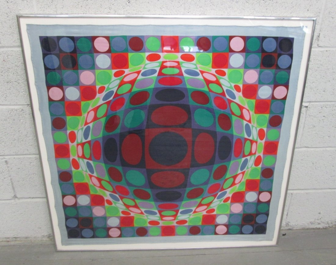 324: Victor Vasarely 1969 Silk Scarf Screenprint Signed