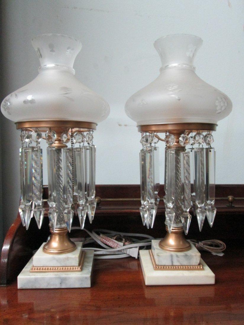 21: Pair Cyrstal & Marble Lusters