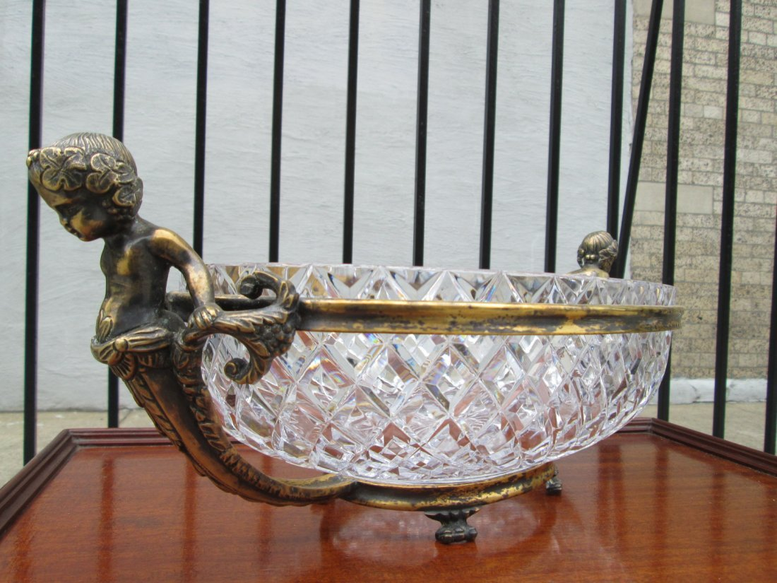 10: French Bronze & Crystal Centerpiece Bowl