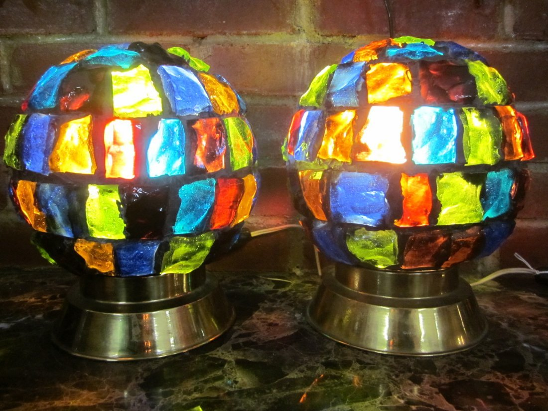 3: Pair Multi Colored Glass Table Lamps