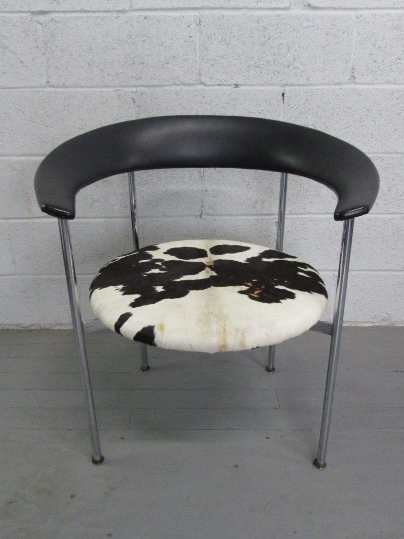 1: Mid Century Modern Italian Chair w/ Cowhide Seat