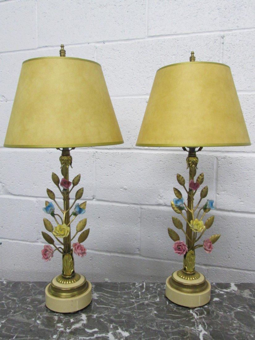 5: Italian Porcelain & Bronze Floral Lamps