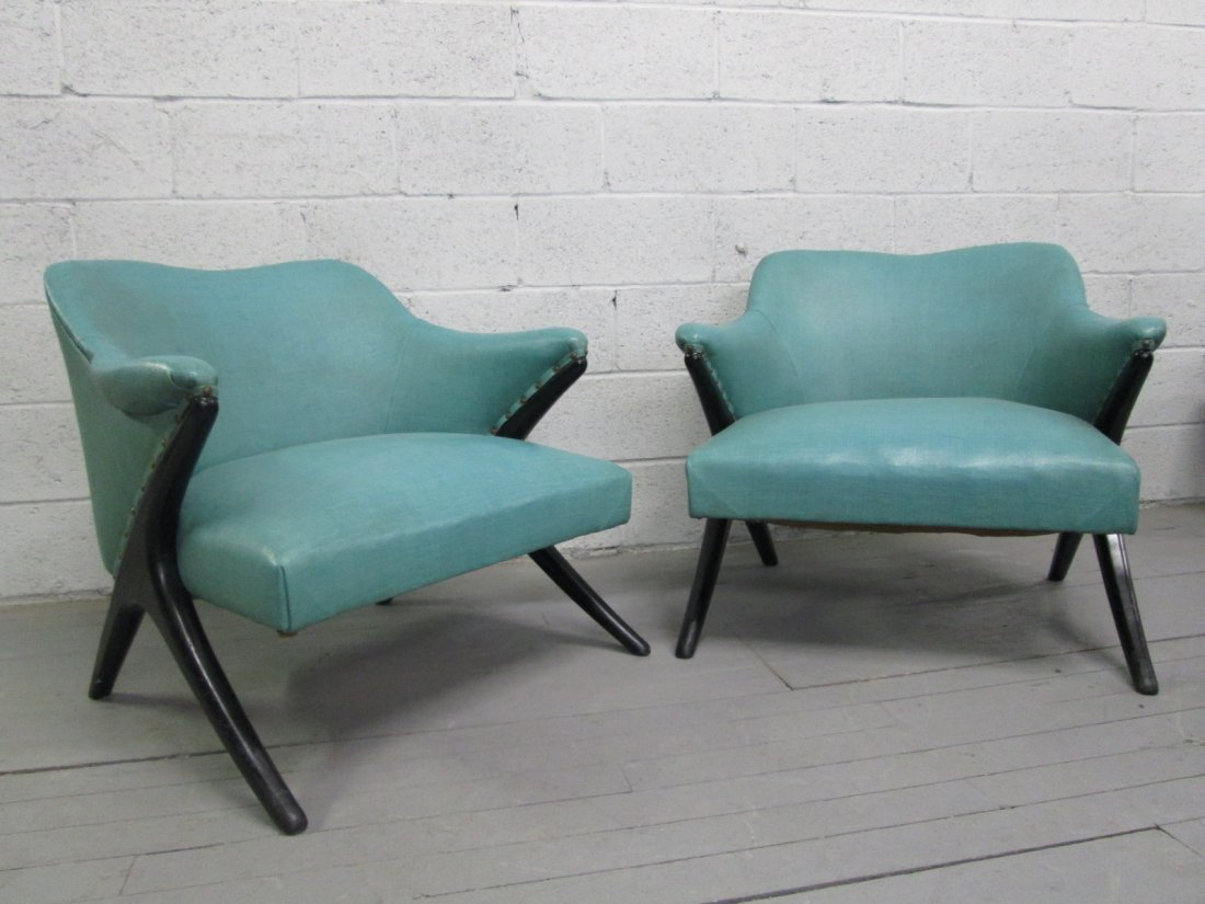11: Pair Italian Sculpted Lounge Chairs