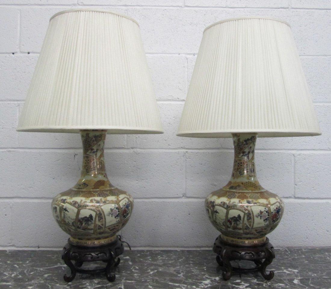 12: Pair Asian Ceramic Lamps