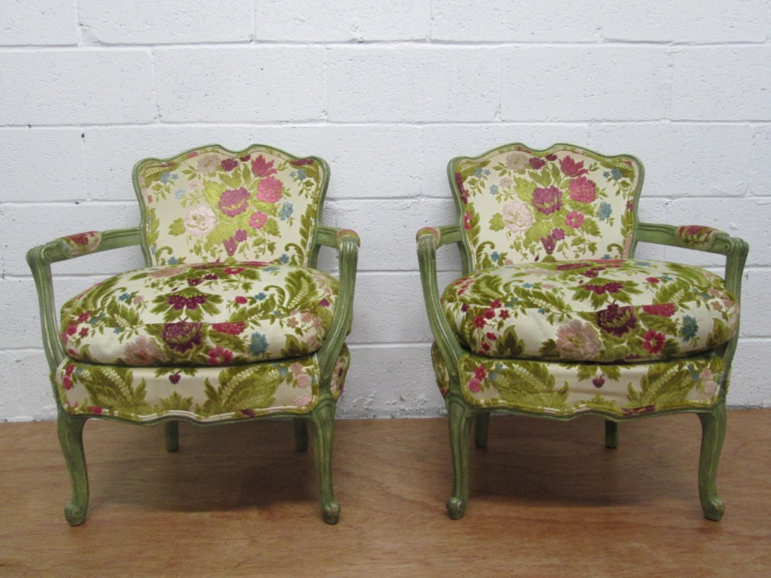 15: Pair French Louis XIV Style Slipper Chairs