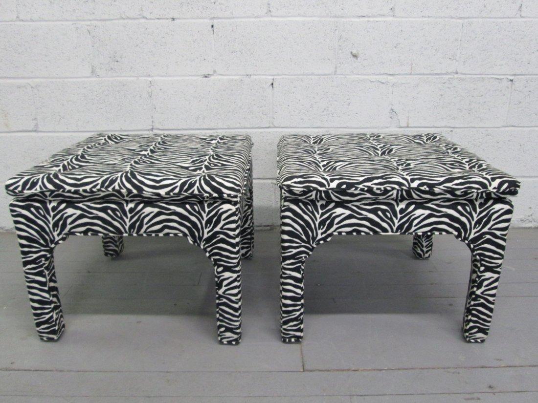 16: Pair Zebra Print Upholstered Benches