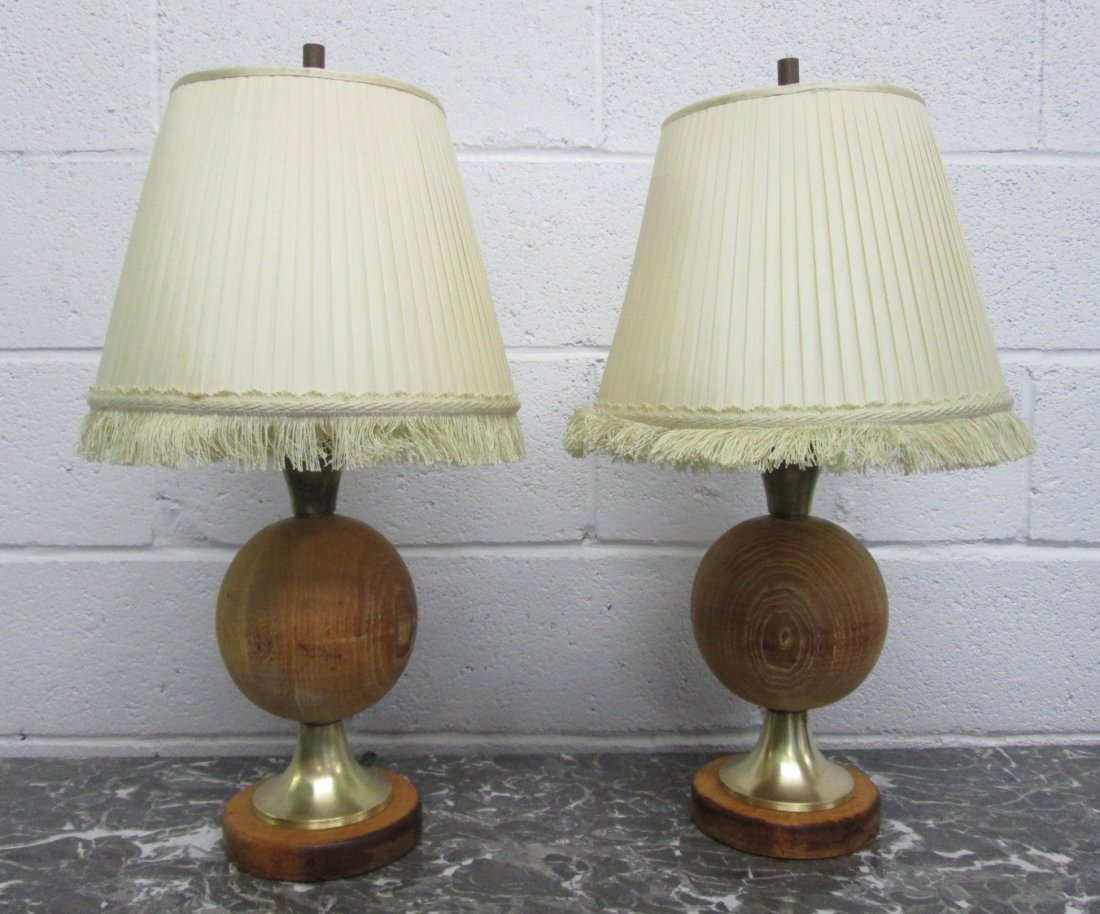 21: Pair Round Wood & Brass Table Lamps