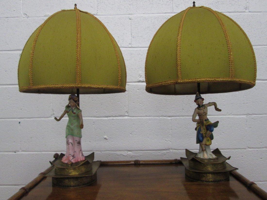 24: Pair Asian Ceramic Figural Lamps