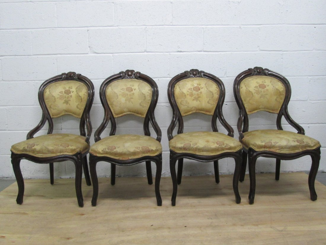 72: 4 Antique Balloon Back Chairs