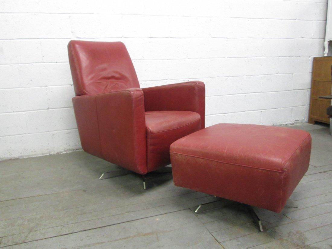 Italian Leather Swivel Chair and Ottoman