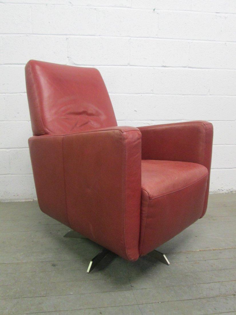 Italian Leather Swivel Chair and Ottoman - 2
