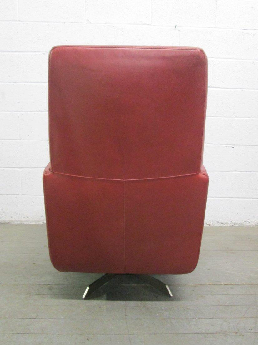 Italian Leather Swivel Chair and Ottoman - 3