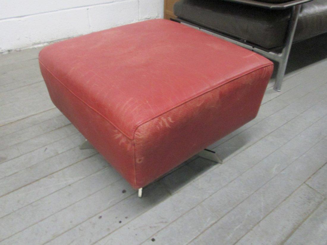 Italian Leather Swivel Chair and Ottoman - 4