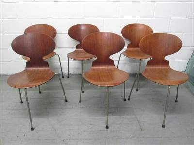 Six Teak Ant Chairs by Arne Jacobsen Model FH3100