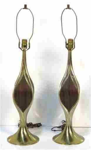 Pair Sculptural Laurel Lamps