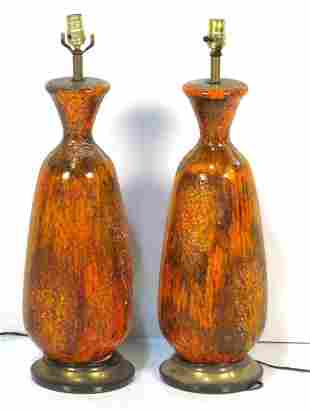Pair Ceramic Glazed Lamps
