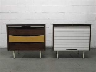 Pair George Nelson Style Chests with Tambour Doors