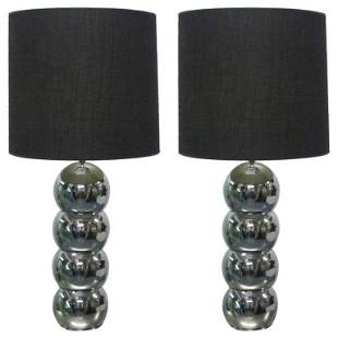 Pair Stacking Chrome Ball Lamps style of George Kovacs