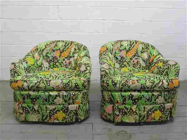 Pair Swivel Chairs style of Milo Baughman