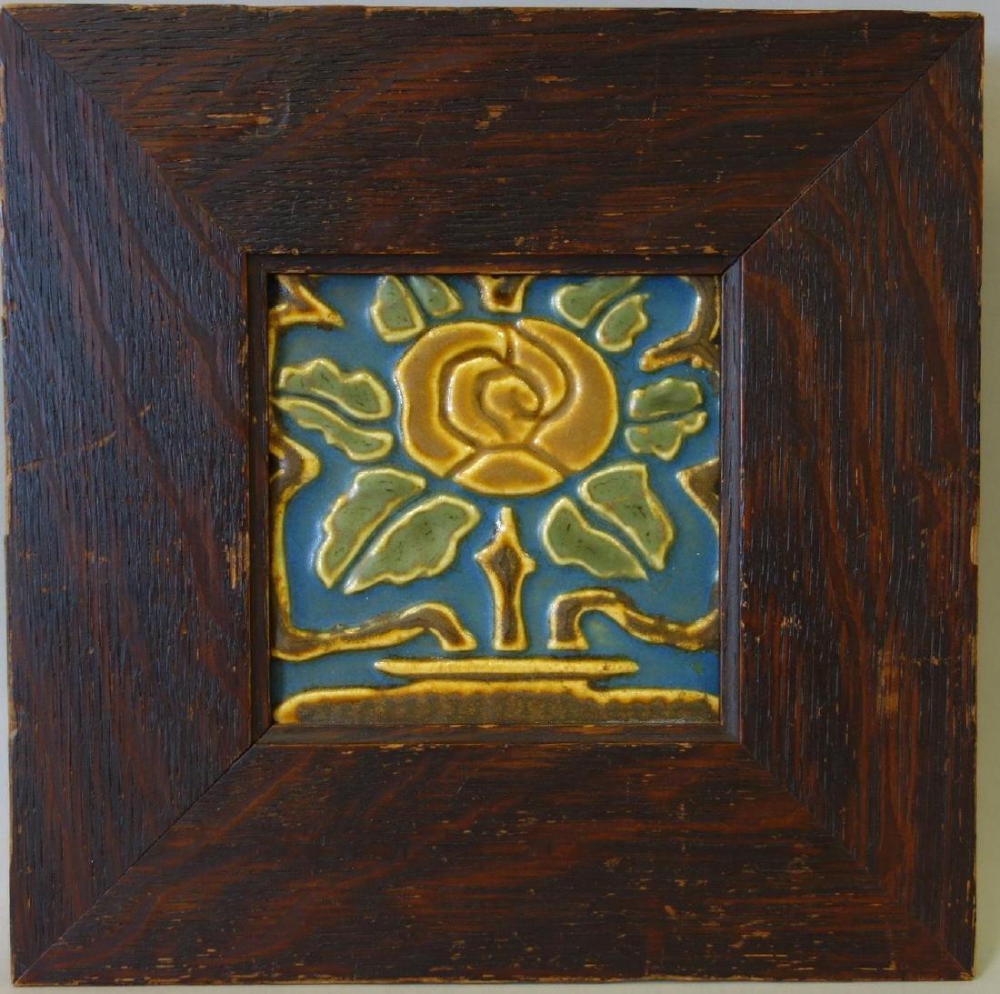Rookwood Pottery Faience Tile in Oak Frame