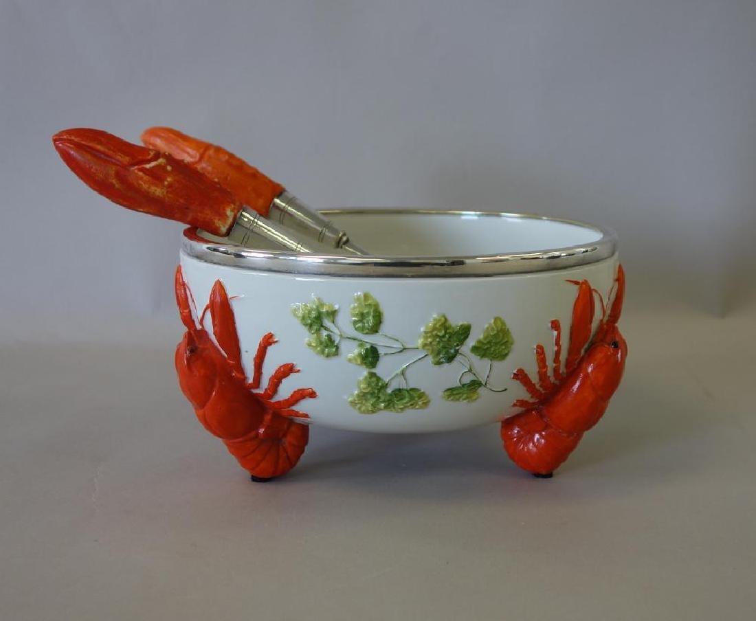 WMF German Porcelain Lobster Salad Bowl & Servers