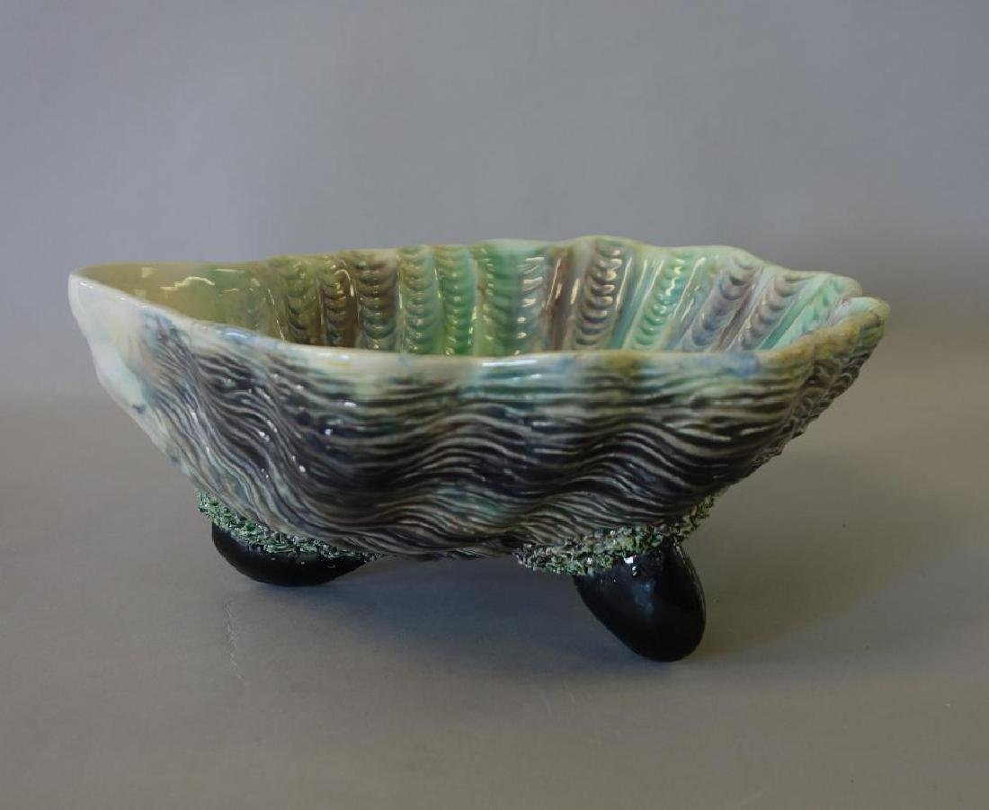 Palissey Style Majolica Scallop Shell Serving Bowl