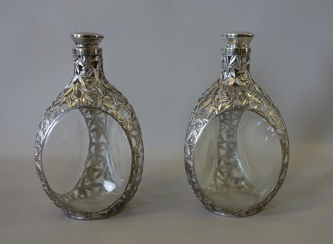 Sterling Silver Overlay Whiskey Decanters