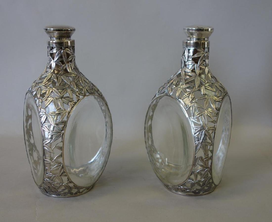 Sterling Silver Overlay Whiskey Decanters - 2