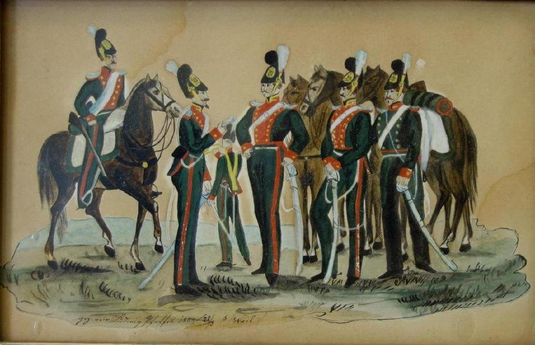 19thc Royal Dragoons Mounted Infantry Painting