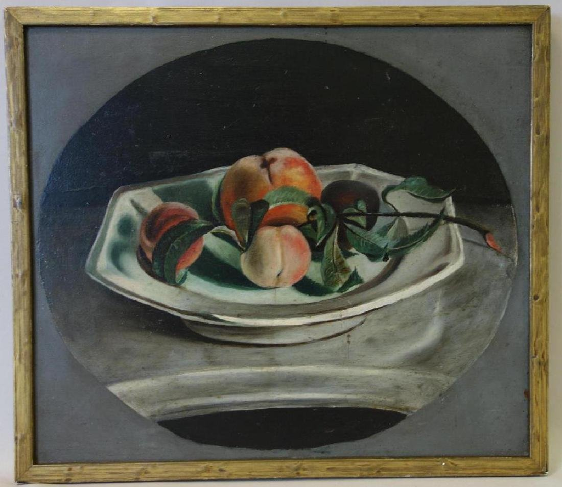 19thc Naive Still Life Painting, Oil on Panel