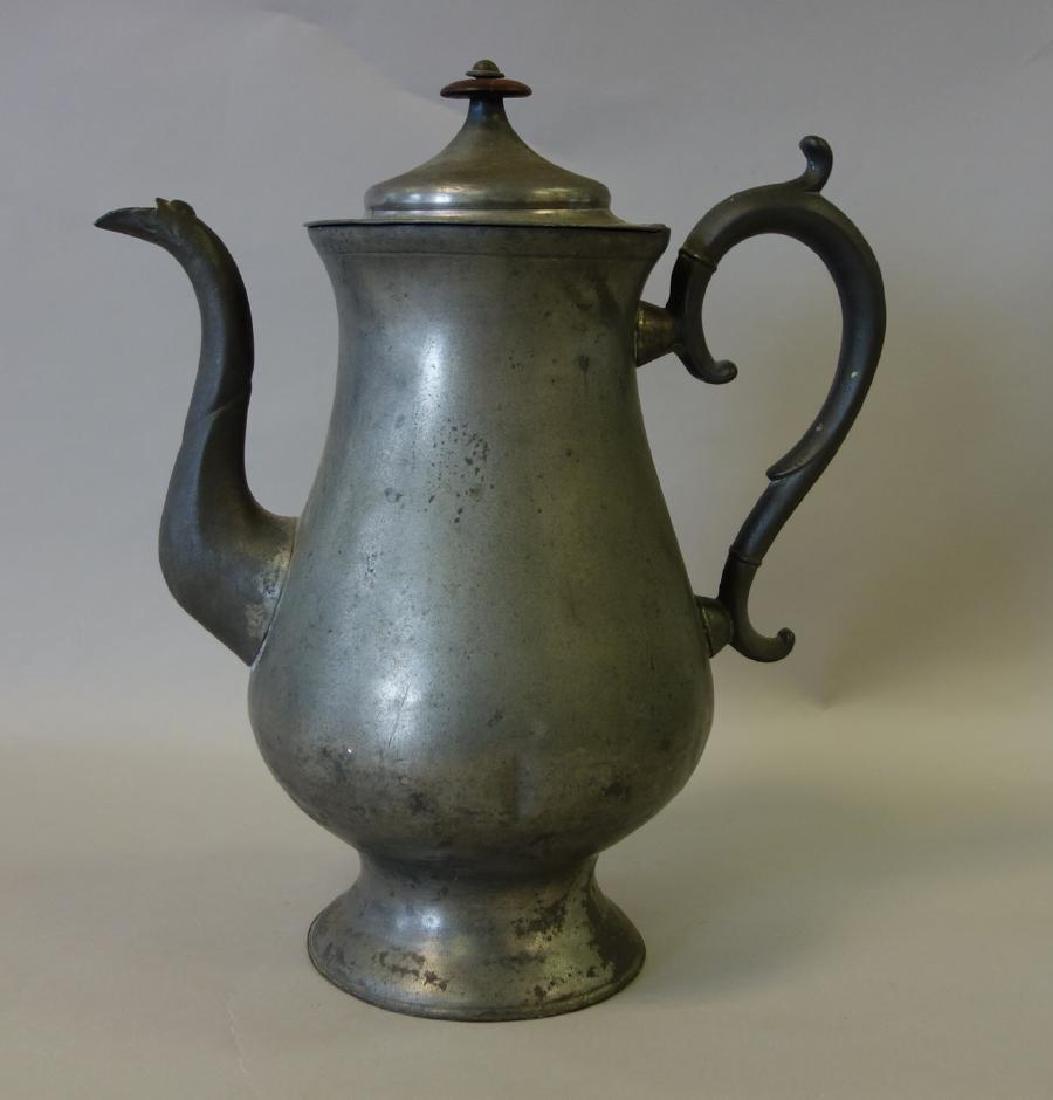 19thc American Pewter Coffee Pot, Thomas Boardman