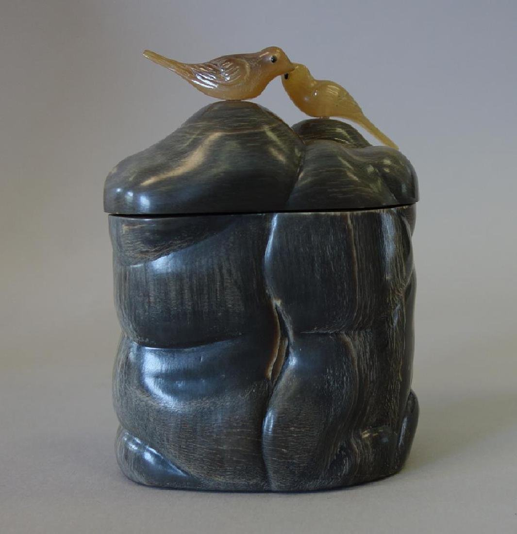 Chinese Horn Opium Box with Jade Birds