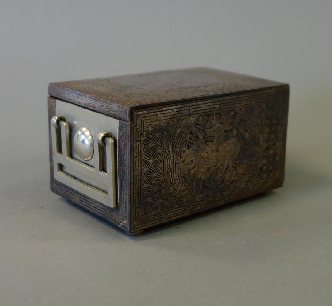 19thc Korean Silver Inlaid Iron Box / Chest - 2