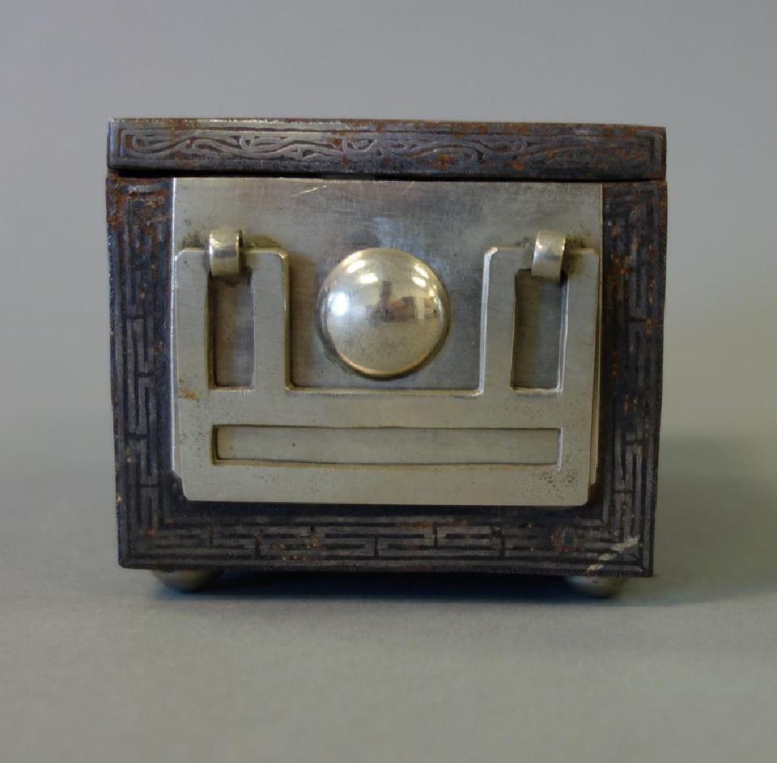 19thc Korean Silver Inlaid Iron Box / Chest - 3
