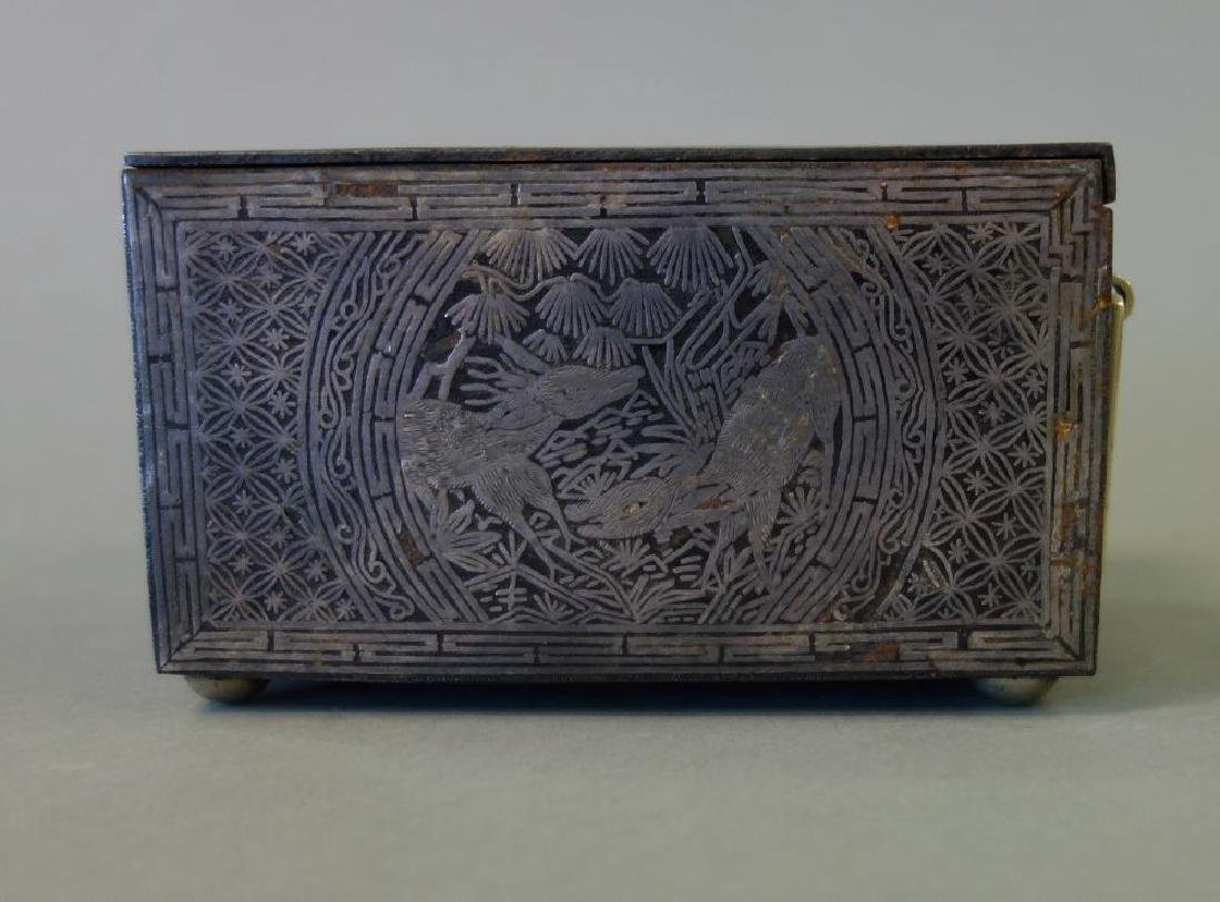 19thc Korean Silver Inlaid Iron Box / Chest - 4