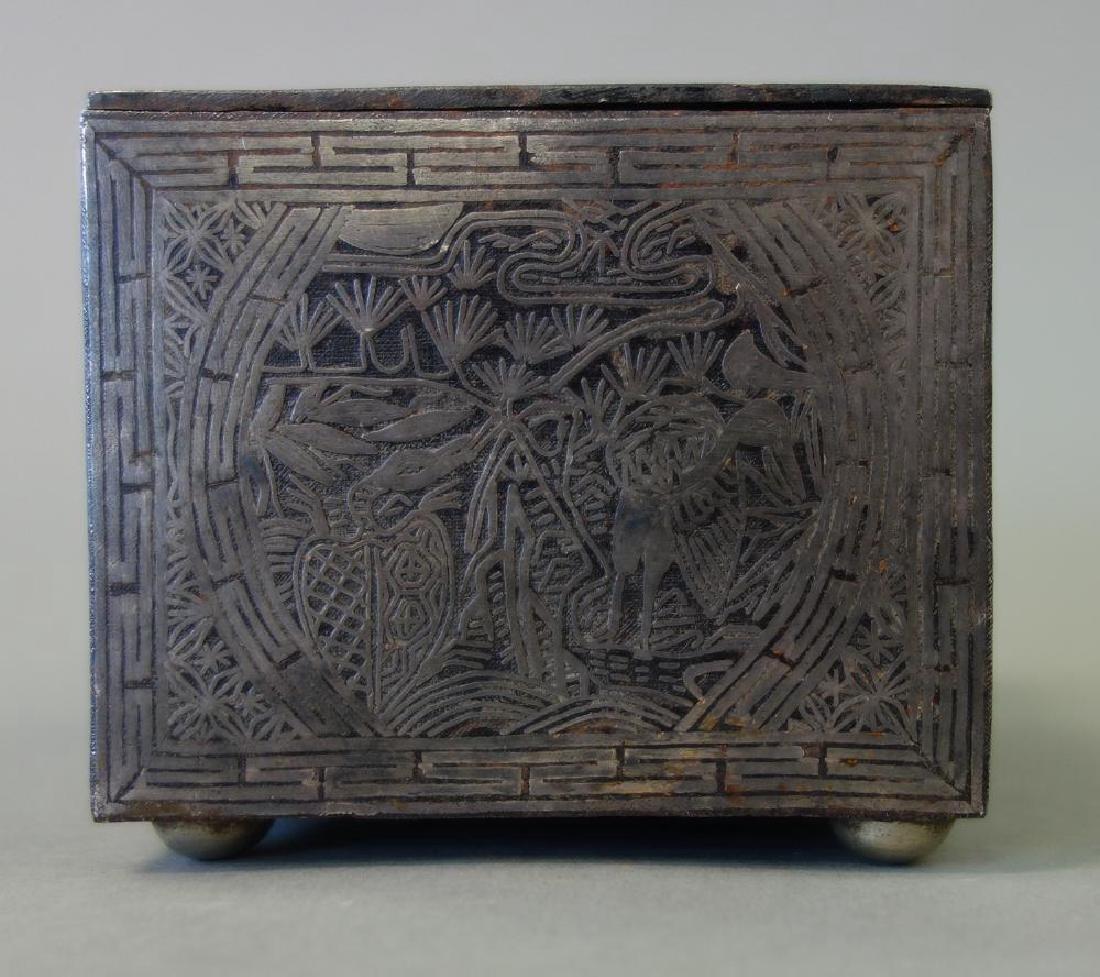 19thc Korean Silver Inlaid Iron Box / Chest - 6