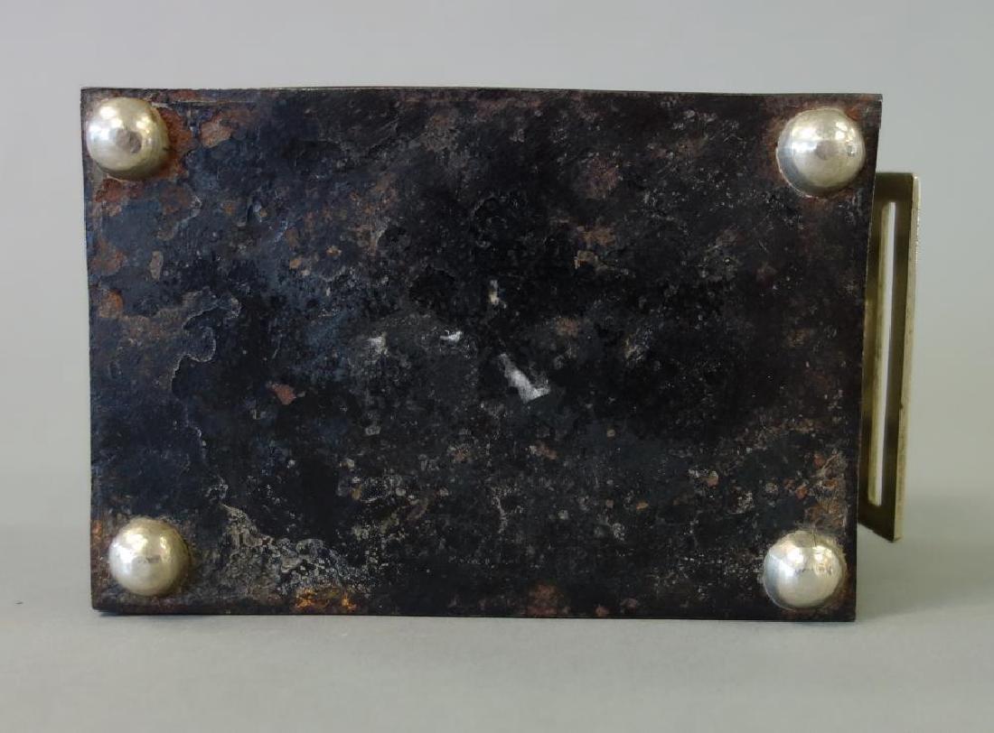 19thc Korean Silver Inlaid Iron Box / Chest - 8