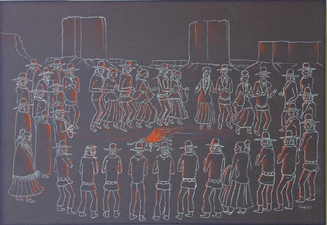 Andy Tsinajinnie (1916-2000) Navajo Campfire