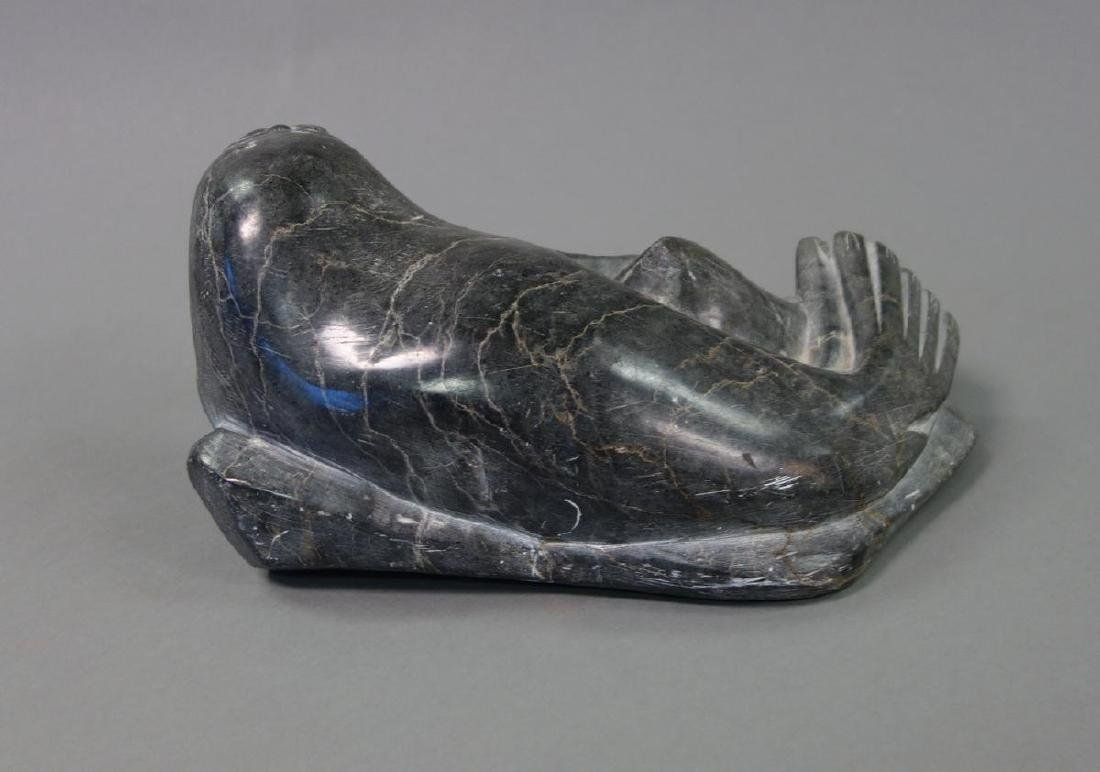 Inuit Eskimo Soapstone Carving of a Seal - 3