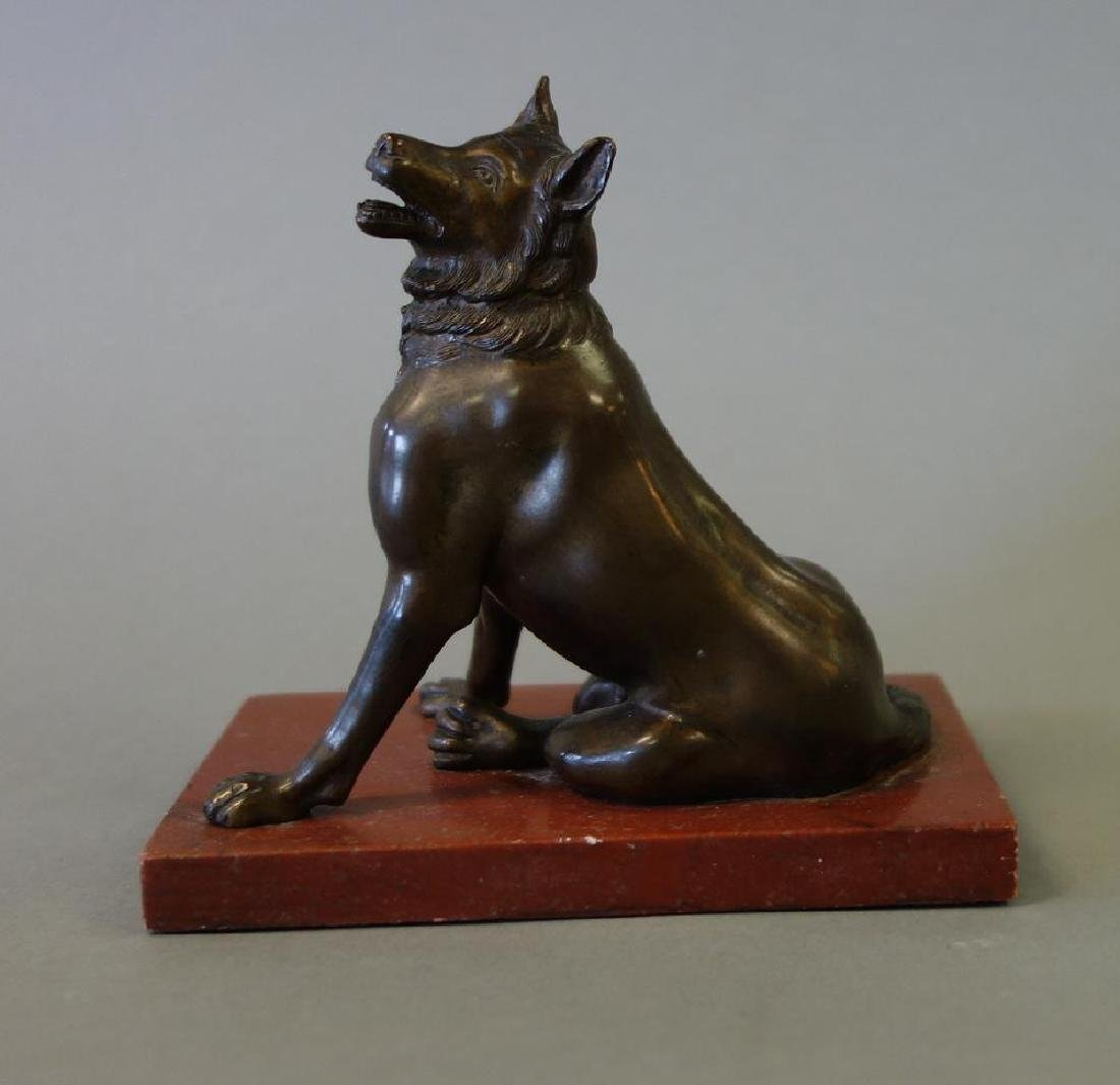 18thc Italian Bronze Model of a Seated Wolf